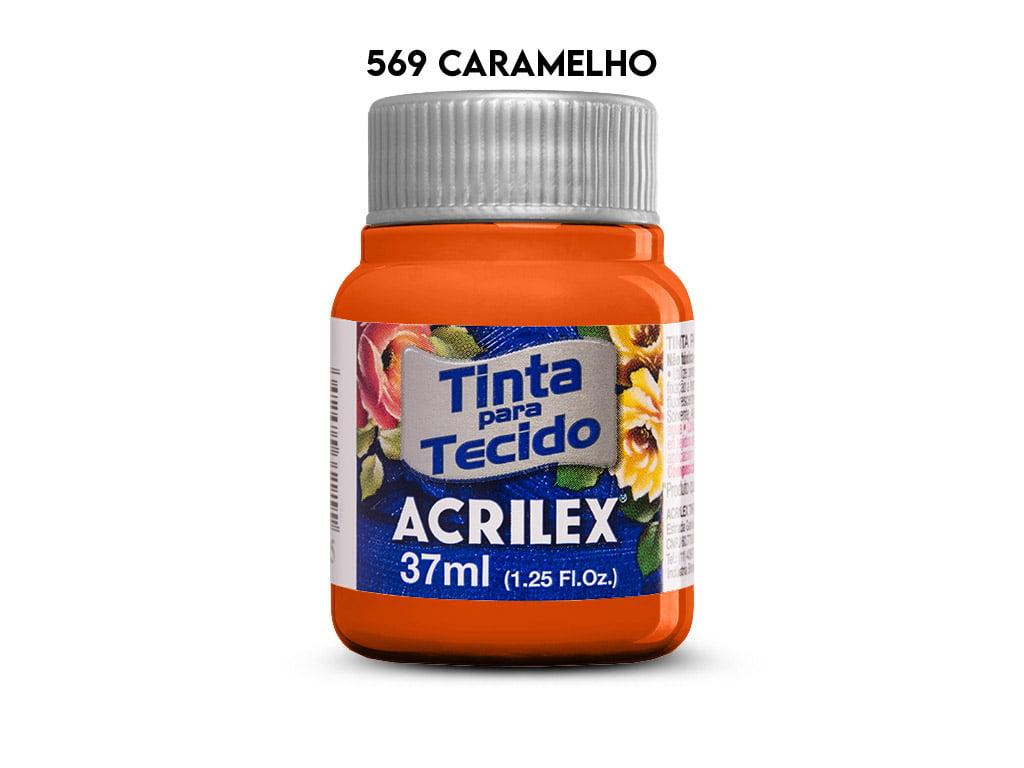 TINTA TECIDO ACRILEX 37ML FOSCA 569 CARAMELO