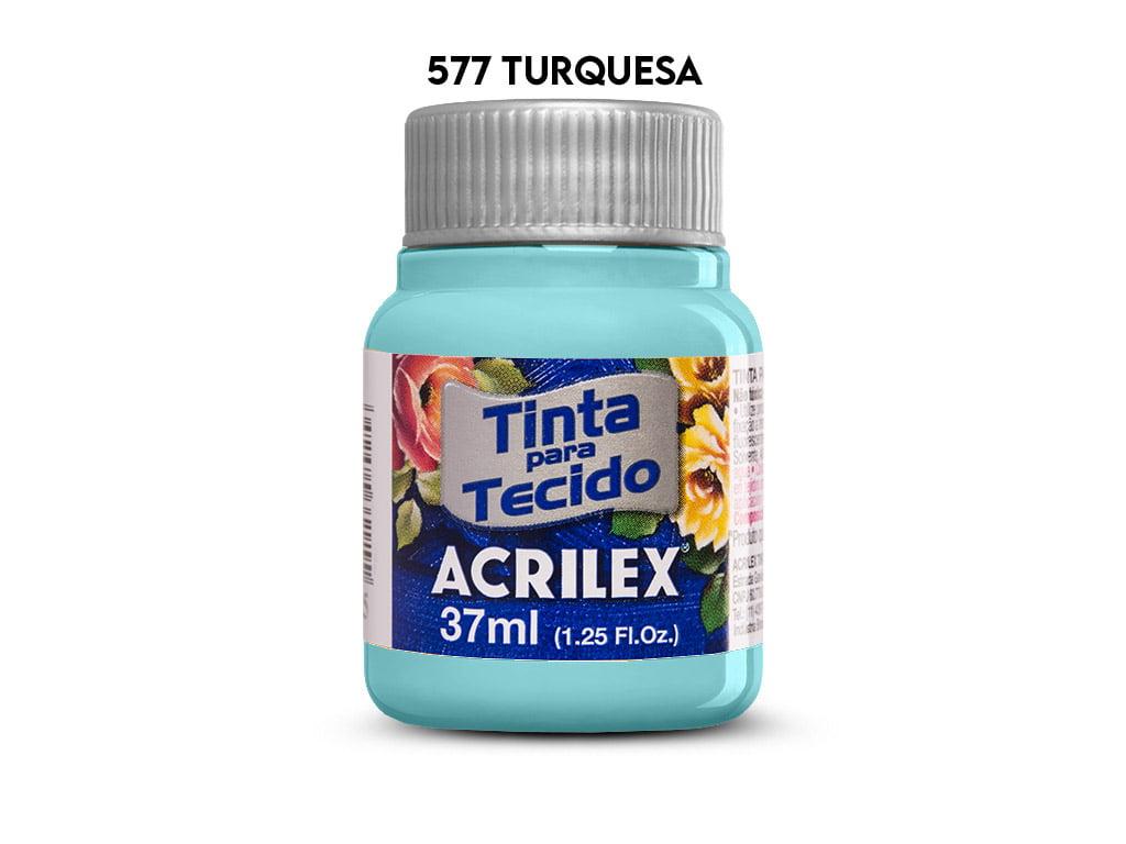 TINTA TECIDO ACRILEX 37ML FOSCA 577 TURQUESA