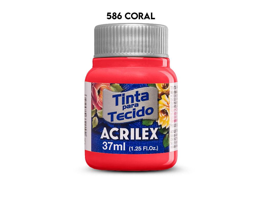 TINTA TECIDO ACRILEX 37ML FOSCA 586 CORAL