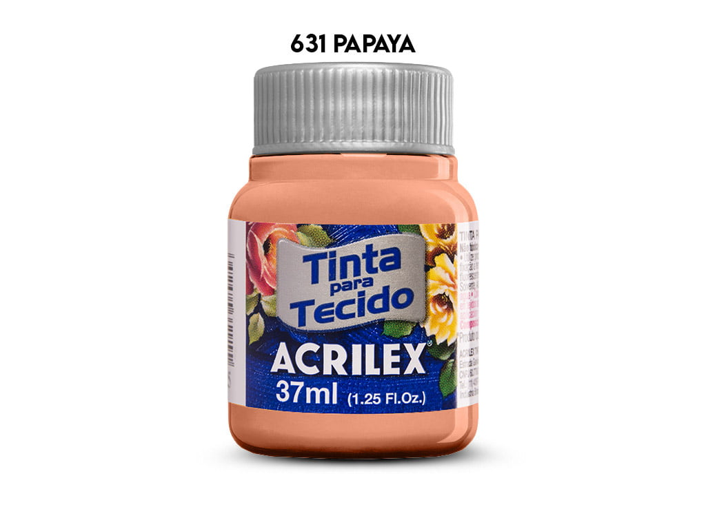 TINTA TECIDO ACRILEX 37ML FOSCA 631 PAPAYA