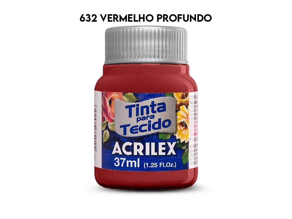 TINTA TECIDO ACRILEX 37ML FOSCA 632 VERMELHO PROFUNDO