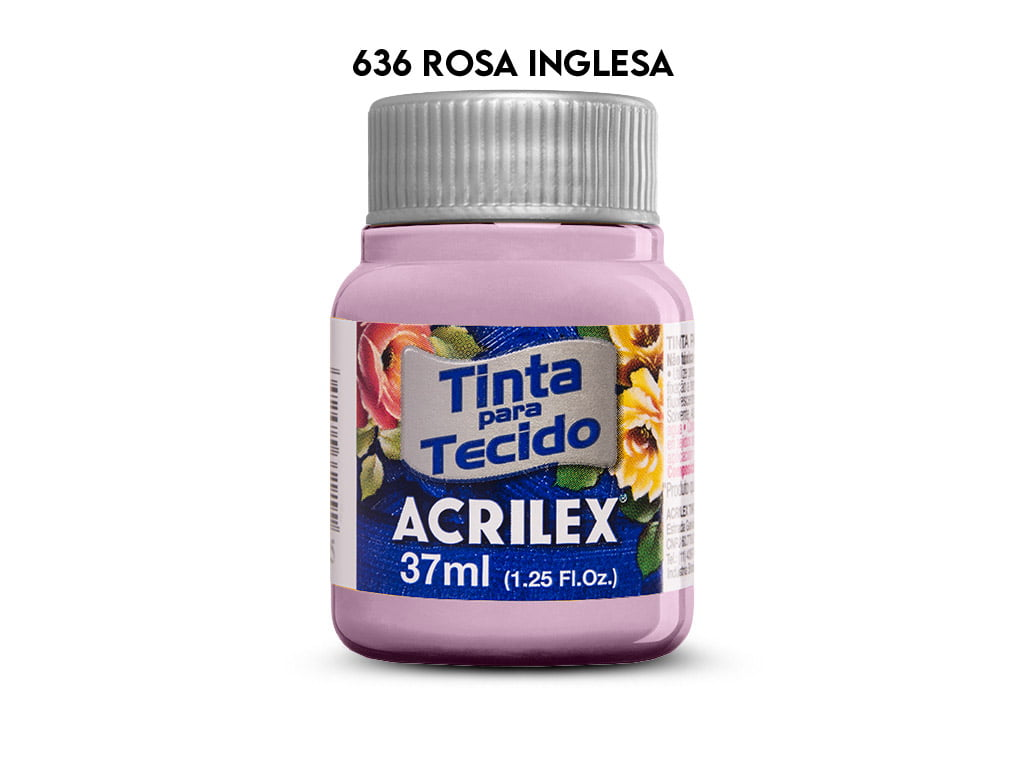 TINTA TECIDO ACRILEX 37ML FOSCA 636 ROSA INGLESA