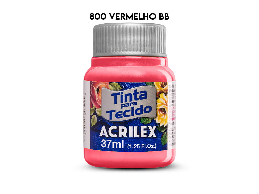 TINTA TECIDO ACRILEX 37ML FOSCA 800 VERMELHO BEBE