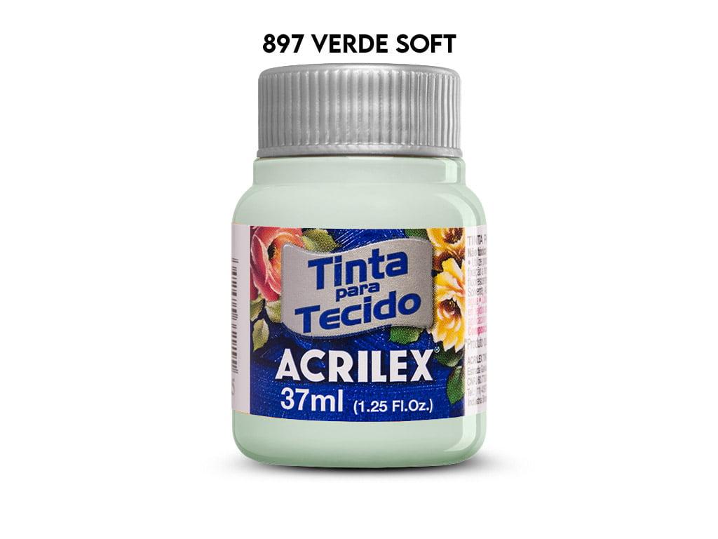 TINTA TECIDO ACRILEX 37ML FOSCA 897 VERDE SOFT