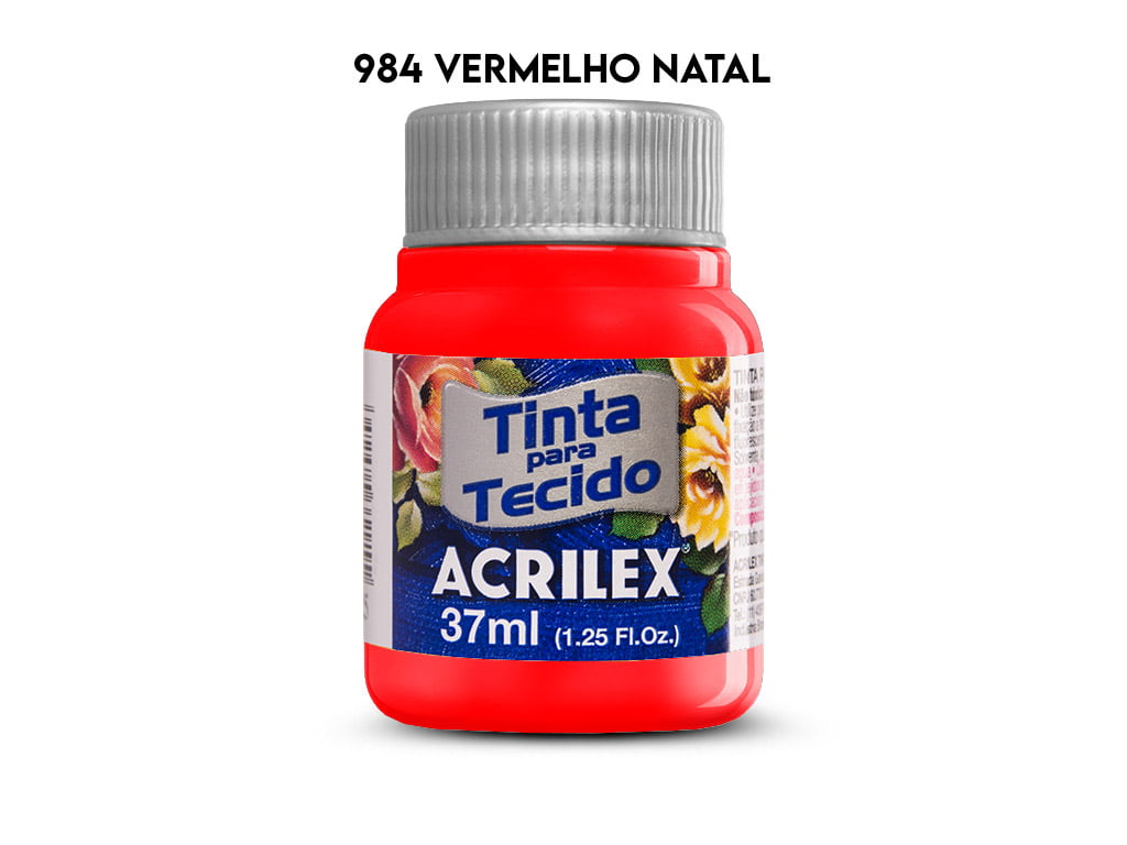TINTA TECIDO ACRILEX 37ML FOSCA 984 VERMELHO NATAL