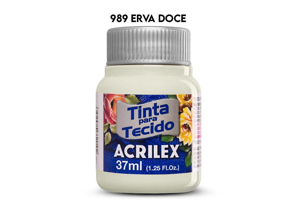TINTA TECIDO ACRILEX 37ML FOSCA 989 ERVA DOCE*