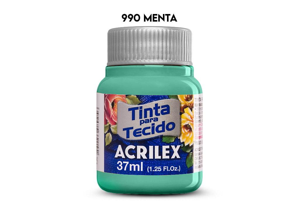 TINTA TECIDO ACRILEX 37ML FOSCA 990 MENTA