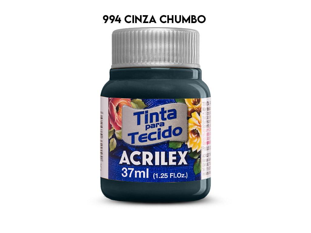 TINTA TECIDO ACRILEX 37ML FOSCA 994 CINZA CHUMBO