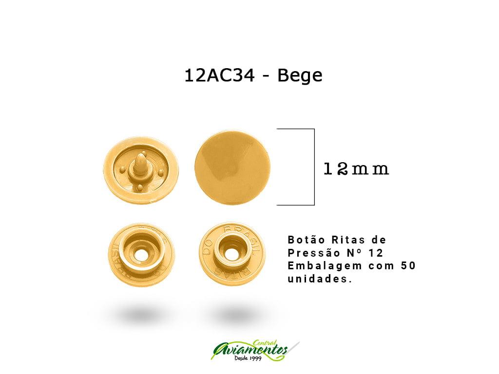 BOTAO DE PRESSAO RITAS N12 200UN BEGE 34