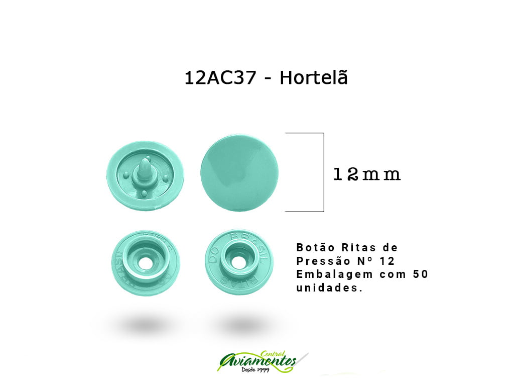 BOTAO DE PRESSAO RITAS N12 200UN HORTELA 37