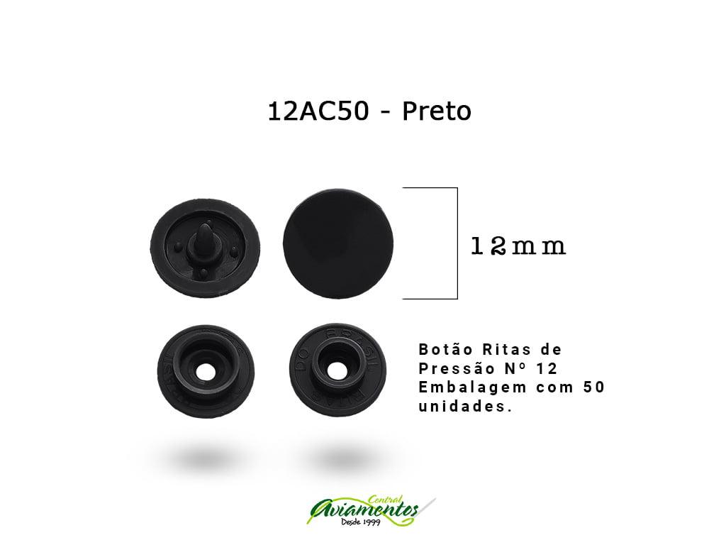 BOTAO DE PRESSAO RITAS N12 200UN PRETO 50