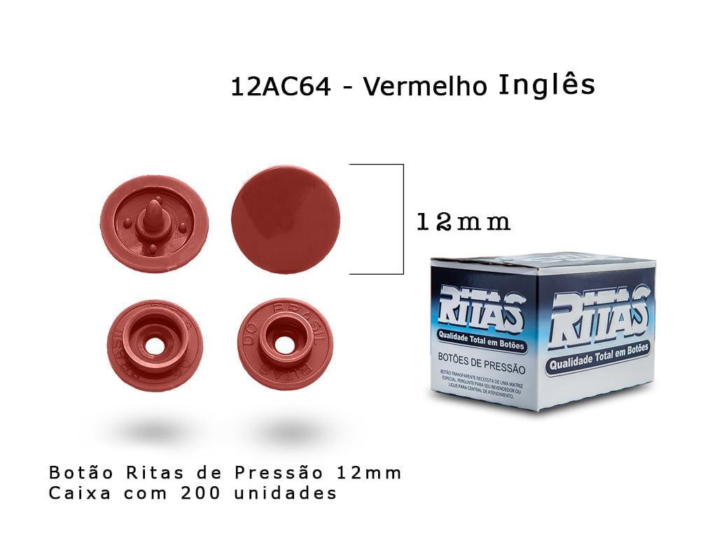 BOTAO DE PRESSAO RITAS N12 200UN VERMELHO INGLES 64