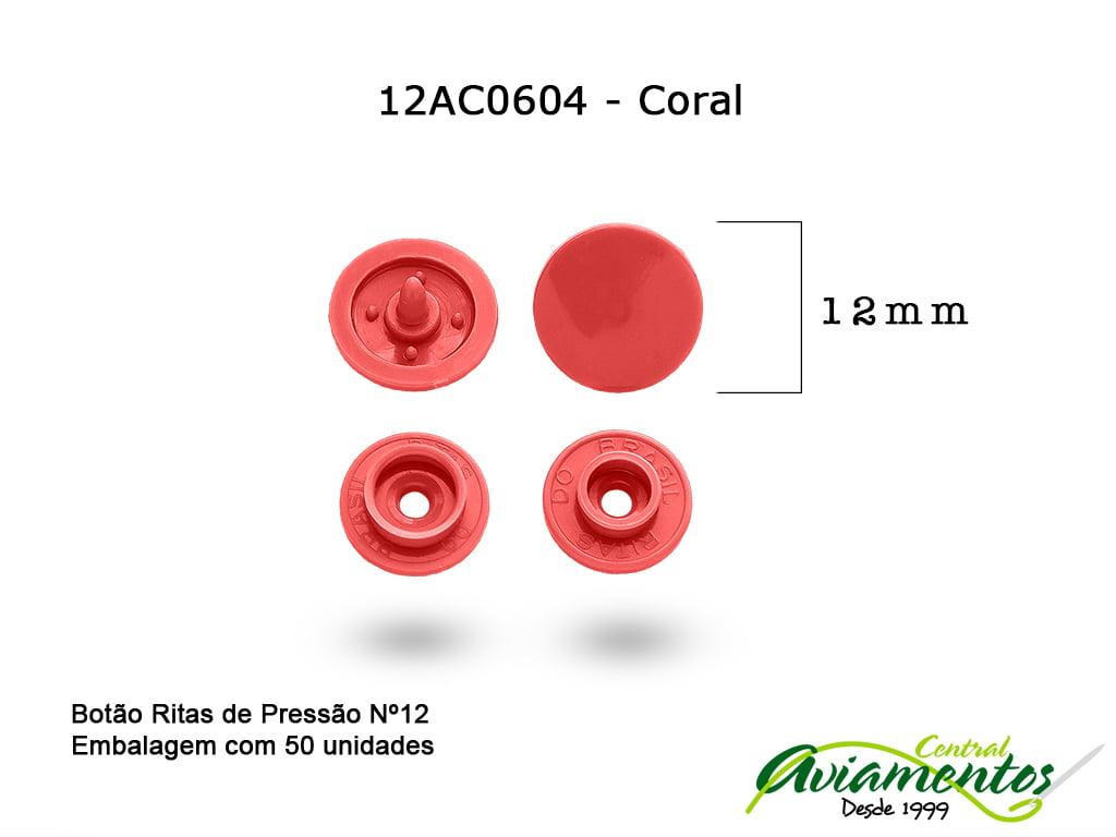 BOTAO DE PRESSAO RITAS N12 50UN CORAL 604