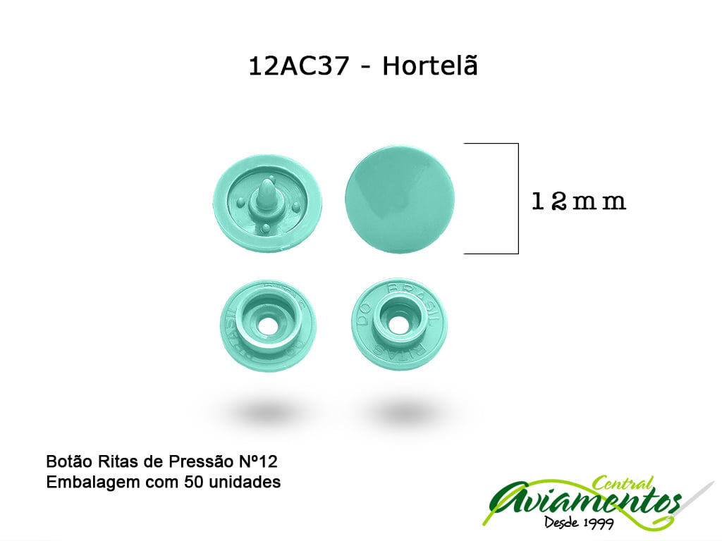 BOTAO DE PRESSAO RITAS N12 50UN HORTELA 37