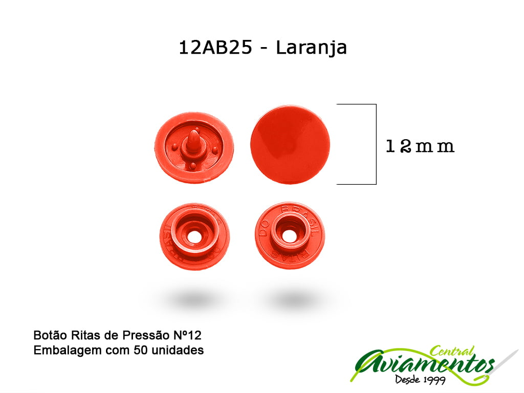 BOTAO DE PRESSAO RITAS N12 50UN LARANJA 25