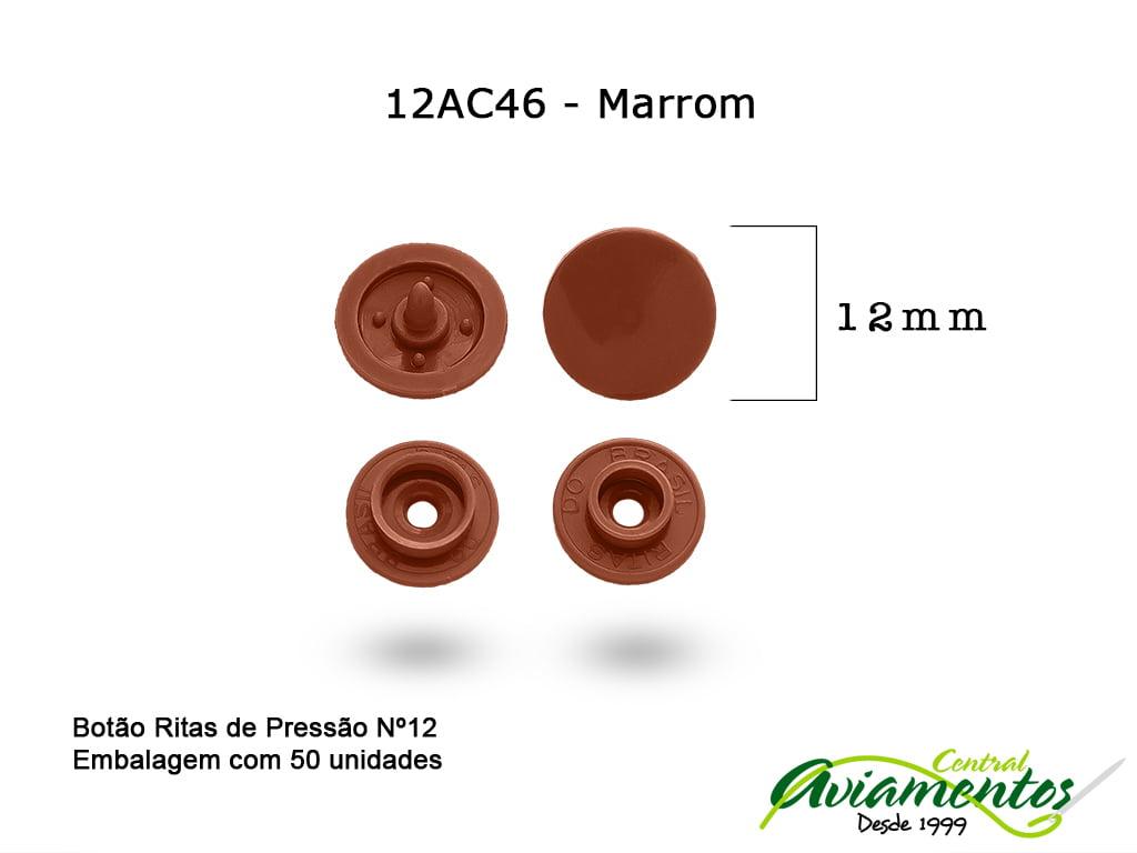 BOTAO DE PRESSAO RITAS N12 50UN MARROM 46