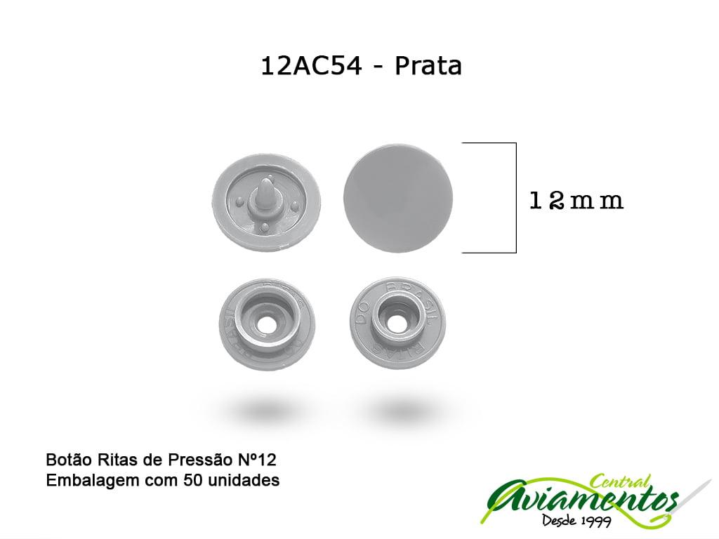 BOTAO DE PRESSAO RITAS N12 50UN PRATA 54