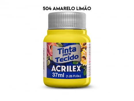 TINTA TECIDO ACRILEX 37ML FOSCA 504 AMARELO LIMAO