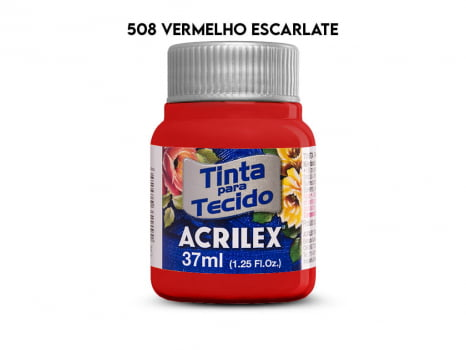 TINTA TECIDO ACRILEX 37ML FOSCA 508 VERMELHO ESCARLATE