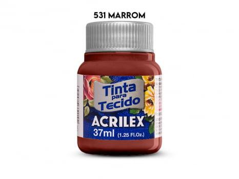 TINTA TECIDO ACRILEX 37ML FOSCA 531 MARROM