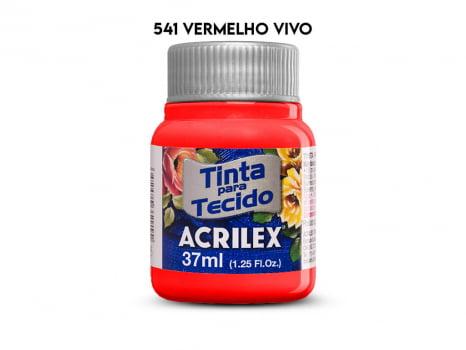 TINTA TECIDO ACRILEX 37ML FOSCA 541 VERMELHO VIVO