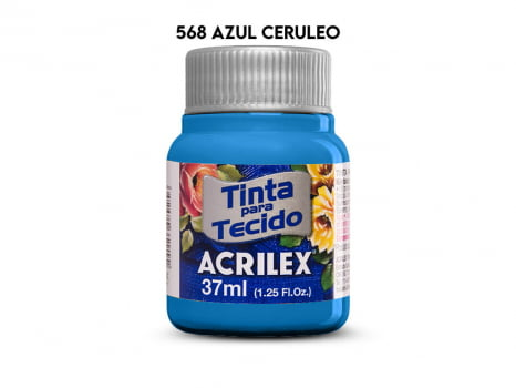 TINTA TECIDO ACRILEX 37ML FOSCA 568 AZUL CERULEO