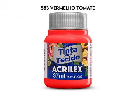 TINTA TECIDO ACRILEX 37ML FOSCA 583 VERMELHO TOMATE