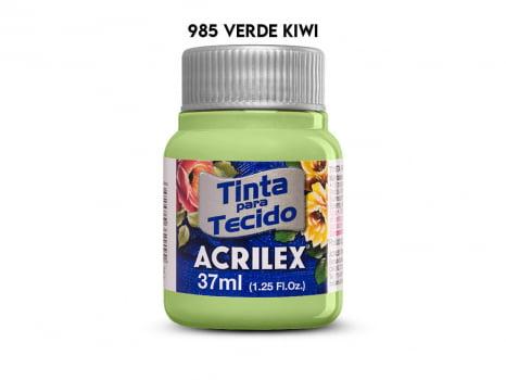 TINTA TECIDO ACRILEX 37ML FOSCA 985 VERDE KIWI