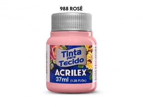 TINTA TECIDO ACRILEX 37ML FOSCA 988 ROSE