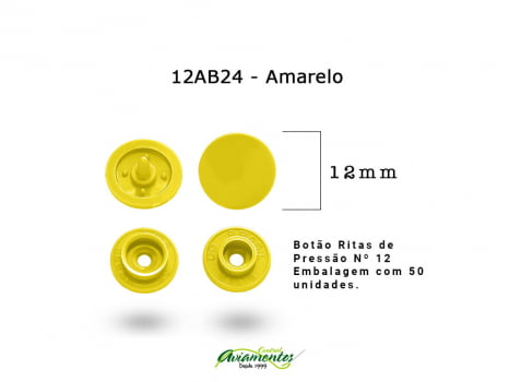 BOTAO DE PRESSAO RITAS N12 200UN AMARELO 24