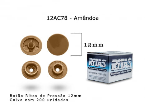 BOTAO DE PRESSAO RITAS N12 200UN AMENDOA 78