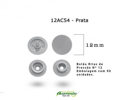 BOTAO DE PRESSAO RITAS N12 200UN PRATA 54