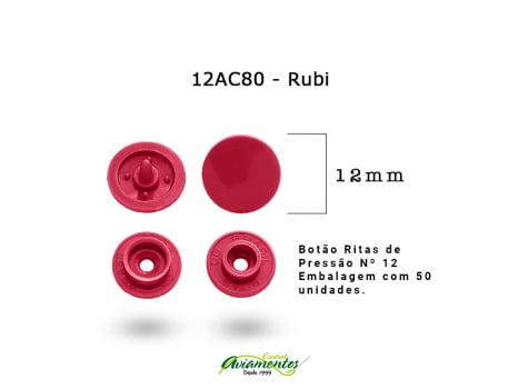 BOTAO DE PRESSAO RITAS N12 200UN RUBI 80