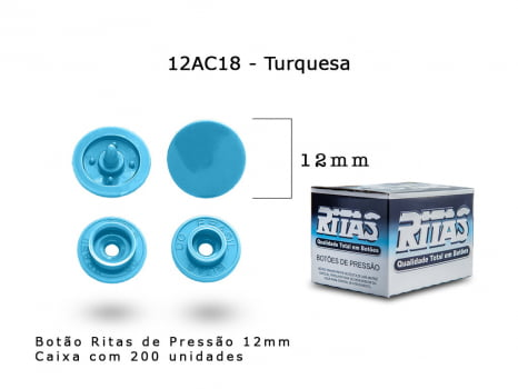 BOTAO DE PRESSAO RITAS N12 200UN TURQUESA 18