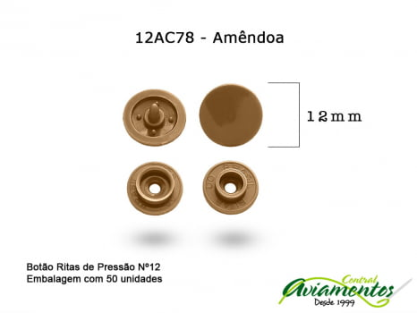 BOTAO DE PRESSAO RITAS N12 50UN AMENDOA 78