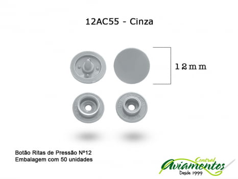 BOTAO DE PRESSAO RITAS N12 50UN CINZA 55