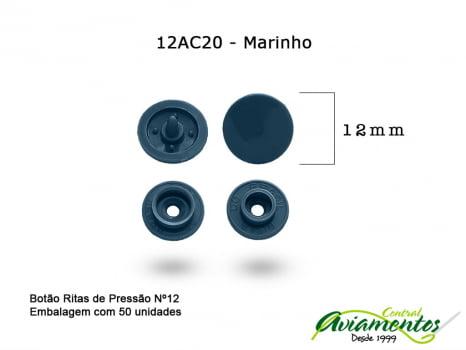 BOTAO DE PRESSAO RITAS N12 50UN MARINHO 20