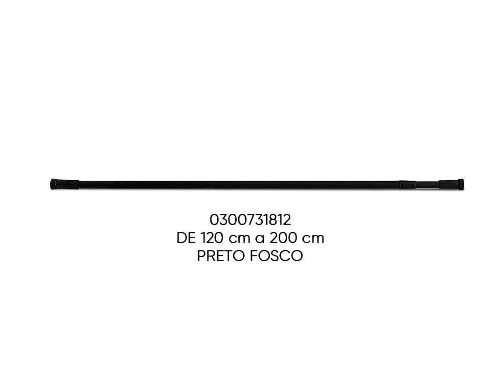 TUBO EXTENSIVEL MULTIFUNCIONAL PRETO FOSCO 120-200CM